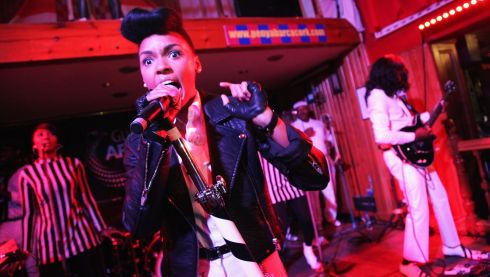 Janelle Monae  performs at the Old Oak as part of the fifth annual Arthur's Day celebrations in Cork. Photograph: Debbie Hickey/Getty Images