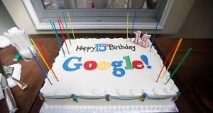 A Google-themed birthday cake at the house where Google was founded on the company's 15th anniversary in Menlo Park, California. Photograph: Stephen Lam/Reuters