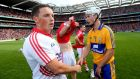 Cork's goalkeeper Anthony Nash shakes hands with Patrick O'Connor of Clare after the drawn game. Photograph: James Crombie/Inpho