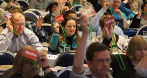 All in favour: teachers voting at the ASTI annual convention in April. Photograph: Patrick Browne