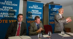 (From left) Martin Heydon TD, Anthony Lawlor TD and Richard Bruton TD at a Fine Gael meeting on Thursday on the referendum to abolish the Seanad.