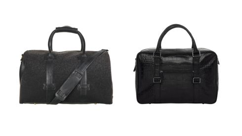 Wool and pleather holdall, €55, River Island. Mock croc holdall, €230, M&S.