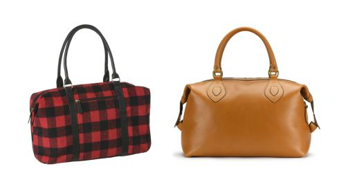 Check weekender bag, €9, Penneys. Explorer leather holdall, €475, tusting.co.uk.