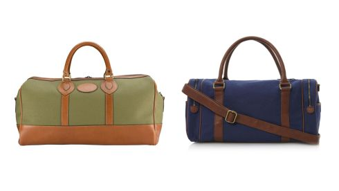 Weekender holdall in olive canvas, €355, tusting.co.uk. Piri holdall, €65, Dune.
