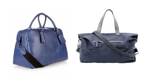 Blue leather bag, €750, Hackett. Cotton canvas bag, €99, COS cosstores.com.