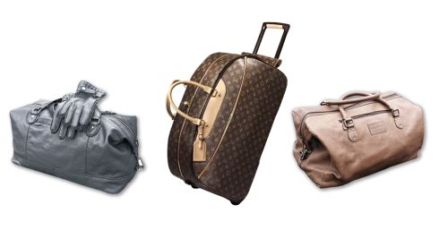 Holdall, €161, J by Jasper Conran at Debenhams. Eole rolling luggage, €1,920, Louis Vuitton at Brown Thomas. Holdall, €217, Rocha.John Rocha at Debenhams.