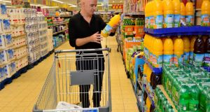 Conor Pope shopping at Aldi in East Wall, Dublin. Photograph: Frank Miller