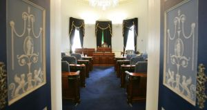 The Seanad chamber looking towards the chair
