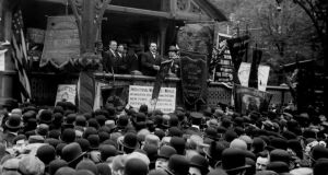 James Connolly addressing the masses in Union Square on May Day in 1908. It is the only published photograph of the labour activist during his time in the US and one of the only occasions he was ever photographed speaking. Photograph: Library of Congress