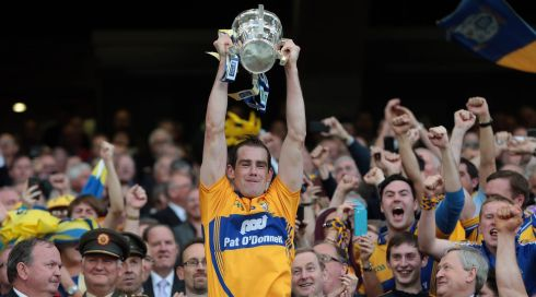Clare captain Patrick Donnellan lifts the Liam MacCarthy cup after a thrilling All-Ireland hurling replay. Photograph: INPHO/Morgan Treacy