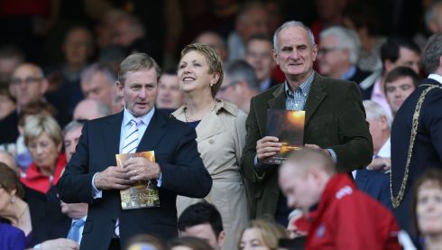 Taoiseach Enda Kenny speaking to former President McAleese and her husband, Martin. Photograph: Alan Betson/Irish Times