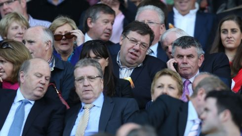 Former taoiseach Brian Cowen at Croke Park during  the All-Ireland Hurling replay. Photograph: Alan Betson/Irish Times