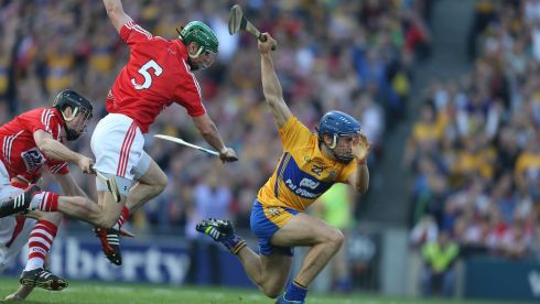 Clare's Shane O'Donnell and  Cork's Brian Murphy. Photograph: Alan Betson/Irish Times