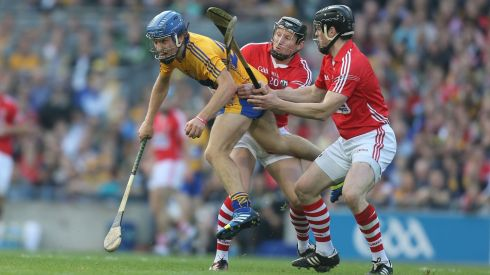Clare's Shane O'Donnell and Cork's Stephen White and Shane O'Neill . Photograph: Alan Betson/Irish Times