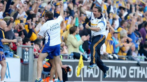 Clare manager manager Davy Fitzgerald celebrates his sides second goal. Photogrpah: INPHO/James Crombie