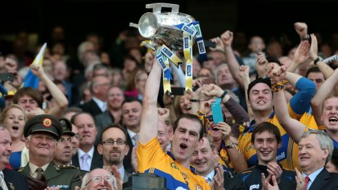 Clare captain Patrick Donnellan lifts the Liam MacCarthy cup. Photograph: INPHO/Morgan Treacy