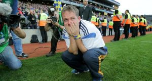 Clare manager Davy Fitzgerald reacts at the final whistle. Photograph: Morgan Treacy/Inpho