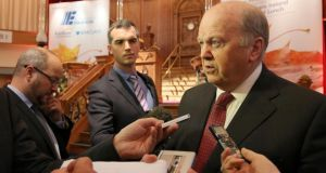 "Minister for Finance Michael Noonan, who visited Belfast on Friday, said he would like the bridge to go ahead, but that it was a question of ""hard cash"". Photograph: Paul Faith/PA Wire"
