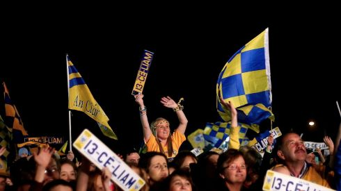 Clare fans celebrating at Tim Smythe Park in Ennis last night. Photograph:  James Crombie/INPHO