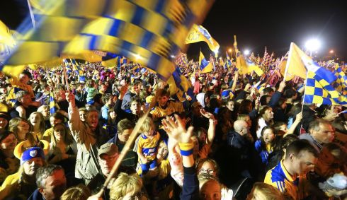 A sea of yellow and blue last night in Ennis welcoming the team home. Photograph: James Crombie/INPHO
