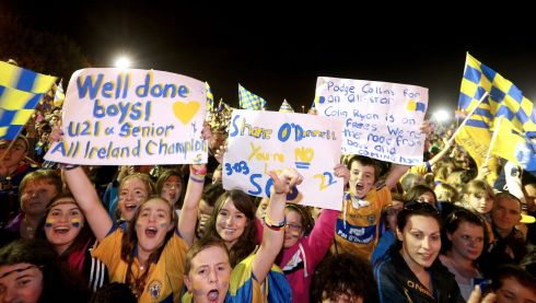 Fans in Ennis last night. Photograph: Photograph: James Crombie/INPHO
