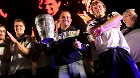 Clare manager Davy Fitzgerald with the Liam McCarthy Cup. Photograph: James Crombie/INPHO