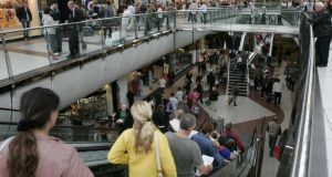 Shoppers at Blanchardstown Shopping Centre in Dublin. The mood among Irish consumers reached a six-year high this month, boosted by positive news on the jobs and property fronts. Photo: Dara Mac Dónaill/The Irish Times