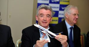 Ryanair Chief Executive Michael O'Leary pictured during the company's AGM in Dublin Airport. Photograph: Aidan Crawley/The Irish Times