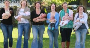 At a breastfeeding support group meeting in Lusk, north County Dublin were, from left to right, Emma Lericque with son Colin; Suzanne Webb with daughter Lucy Niland; Karolina McKittrick and son Jack; Anna Clarke with Jeremiah; Michelle Cannon with Leah-Joy; and Aine Conneff with Oisin. Photograph: Nick Bradshaw