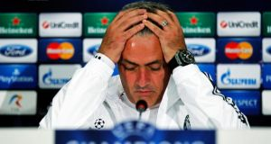 Chelsea's manager Jose Mourinho during a press conference in Bucharest on Monday. Photograph: Bogdan Cristel/Reuters