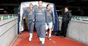Ireland's Kevin Doyle, Andy Reid and Anthony Stokes arrive for training in 2007 and now find themselves back in the picture for this month's World Cup qualifiers.
