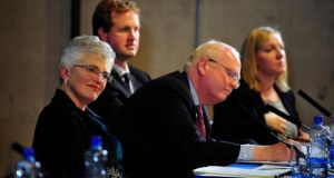 Senator Katherine Zappone, Michael McDowell SC, Jim O'Callaghan SC and Lucinda Creighton TD during the debate at Trinity College Dublin. Photograph: Aidan Crawley