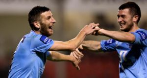 Drogheda's Gavin Brennan celebrates with his brother Ryan Brennan aftre scoring against Shelbourne at Tolka Park. Photograph:  James Crombie/Inpho