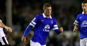 Ross Barkley in action against Newcastle at Goodison Park last night. Photograph: Julian Finney/Getty Images
