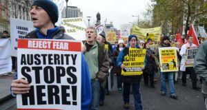 Anti-austeriy marchers on Dublin's O'Connell last year. Photograph: Alan Betson / THE IRISH TIMES