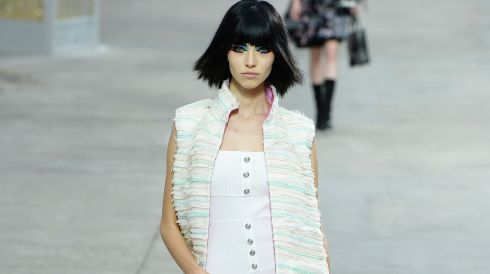A model walks the runway during the Chanel show at Paris Fashion Week  today. Photograph:  Pascal Le Segretain/Getty Images
