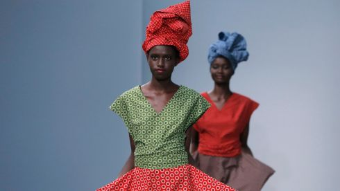Models present creations by French designer Agnes b. At Paris Fashion Week today. Photograph: Reuters