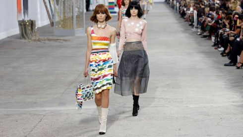 Models at Karl Lagerfeld's show at Paris Fashion Week today. Photograph: Reuters