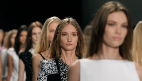 Models at the Raffaele Borriello show in Paris yesterday. Photograph:  Gonzalo Fuentes/Reuters
