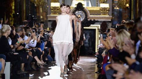 Models  on the runway at the Stella McCartney  show at Paris Fashion Week today. Photograph:  Pascal Le Segretain/Getty Images