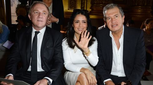 Francois-Henri Pinault, Salma Hayek and Mario Testino at the Stella McCartney show in Paris yesterday. Photograph: Pascal Le Segretain/Getty Images