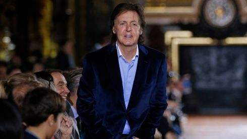 Singer Paul McCartney at his daughter Stella's show at Paris Fashion Week yesterday. Photograph:  Benoit Tessier/Reuters