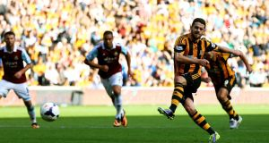 Hull's Robbie Brady scores the opening goal from the penalty spot against  West Ham last weekend