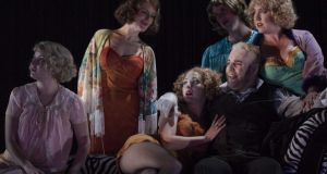 David Ganly (Mack The knife) and whores in 'The Threepenny Opera' at the Gate Theatre. Photograph: Matthew Thompson