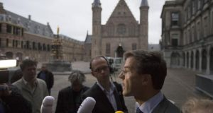 Dutch prime minister Mark Rutte leaving the Senate building in the Hague last month. Photograph: Phil Nijhuis/AFP/Getty Images