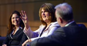 Minister for Social Protection Joan Burton addressing the Irish Association of Pension Funds IAPF Annual Benefits Conference 2013 in the National Convention Centre. Photograph: Alan Betson.