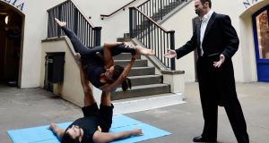 An opera singer and experts from a local yoga studio stage a  workout to mark the launch of a Reebok FitHub concept store  in  Covent Garden, London, last month.   Photograph: Bethany Clarke/Getty Images