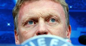 Manchester United's manager David Moyes at a news conference at the Donbass Arena. Photograph: Gleb Garanich/Reuters