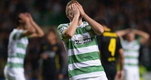 James Forrest of Celtic after a missed chance during the Uefa Champions League Group H match against Barcelona at Celtic Park. Photograph: Jeff J Mitchell/Getty Images