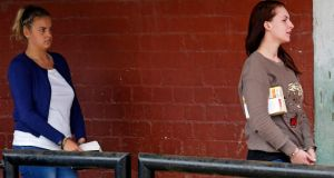 Melissa Reid, left, and Michaella McCollum arrive for a court hearing, in Callao, Peru. Photograph: Mariana Bazo/Reuters